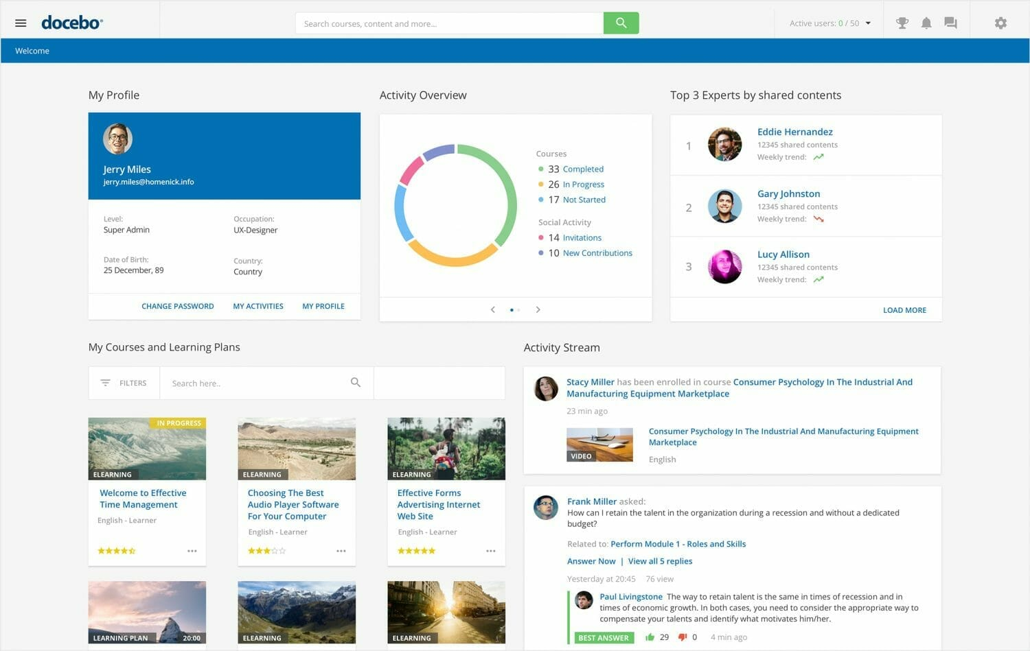Control visibility for different users in your LMS